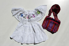 Mexican Girls Dress Lace Embroidered flowers White Peasant Gypsy Bohemian 6M-4T