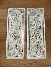 PAIR BRASS DOOR PLATES RECLAIMED ARTS & CRAFTS FINGER PUSH FINGERPLATE HANDLES