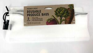 Trader Joe's Reusable Mesh Produce Bags SET OF TWO White Washable Eco-Friendly