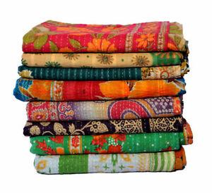 Indian Reversible Kantha Twin Quilt Vintage Handmade Blanket Throw Patchwork