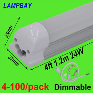 "4-100/pack Dimmable LED Tube Light 4ft, 48"" 1.2m 20W 24W Bar Lamp 4 Feet Fixture"