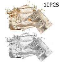 10pcs Gold Silver Bundle Bags Drawstring Wedding Candy Jewelry Party Pouch Gifts