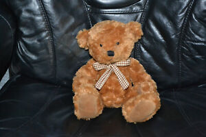 """Russ Berrie """"Tyler"""" 12"""" Soft Teddy Bear with checkered bow tie"""