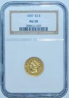 1850 NGC AU58 $2.50 Gold Liberty Head Quarter Eagle
