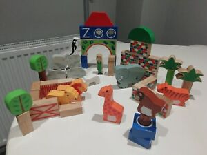 Lanka Kade Fairtrade Wooden Zoo Building Blocks / Bricks - Set Of 48 blocks