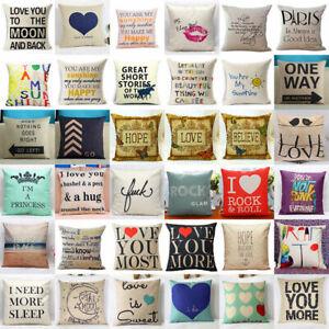 Square Home Decorative Throw Cotton Linen Pillow Case Sofa Waist Cushion Cover
