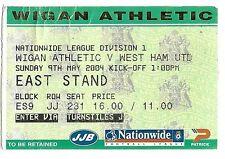 Billete De Fútbol > Wigan Athletic V West Ham United de mayo de 2004