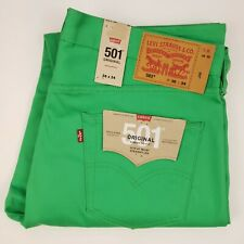 Levis 501 Jeans Green 36x34 Button Fly Raw Unwashed Bright Vibrant New Nwt Denim