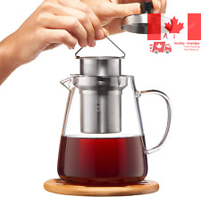 Glass Teapot Kettle with Infuser - Loose Leaf Tea Pot 32oz - Stovetop Safe Cl...