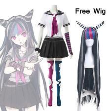 Danganronpa Dangan-Ronpa Mioda Ibuki Cosplay Kostüme Uniform Outfit Free Wig