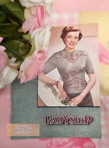 Vintage 1940s Lady's Embroidered Jumper Knitting Pattern Fit 39 - 40in. Bust