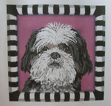 Handpainted Needlepoint Canvas Barbara Russell Shih Tzu Dog BR270