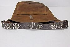 TYLIE MALIBU BROWN SUEDE LEATHER ACCENTED BLINGED CRYSTALS HOBO PURSE RHINESTONE