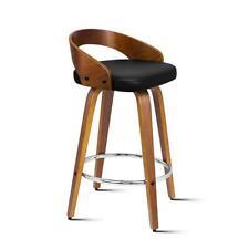 Alfordson 2x Swivel Bar Stools CADEN Kitchen Wooden Dining Chair Black