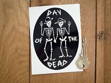 """Día De Muertos Esqueleto Oval de la etiqueta engomada de 5 """"Mexicano Rockabilly Día De Muertos Calavera"""