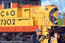 CHESSIE CAT (C&O) SD18, ORIGINAL LTD 1st EDITION RAILROAD ART DIRECT FROM ARTIST