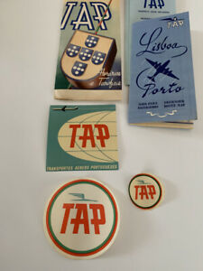VINTAGE 1940's/1950's TAP AIRLINES TIMETABLE  TICKET  WALLET DECALS OTHER