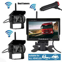 """2 X Wireless IR Rear View Backup Camera + 7"""" HD Parking Monitor For RV Truck Bus"""