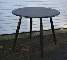 ERCOL SOLID OAK BLACK RETRO BREAKFAST DINING TABLE EX DISPLAY