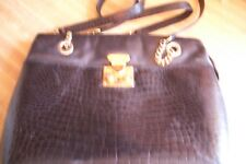 Bally bag Tote Rare VIntage Lamb/ Croco print Brown excellent