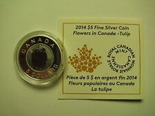 2014 Proof $5 Flowers #1-Tulip Canada .9999 silver COIN&COA ONLY niobium five do