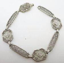 14k Gold Art Deco Filigree Genuine Natural Rock Crystal Bracelet (#3424)