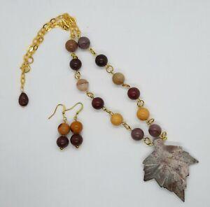 Genuine Jasper Maple Leaf & Mookaite 18k gold plated handmade necklace &earrings