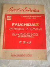 Vintage parts catalogue McCormick-Deering F21-U Mowers 1957