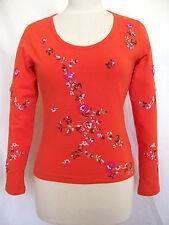 Oilily Shirt Gr. S M XL NEU Damen Langarmshirt Orange Blumen Stickerei women