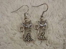 Silvertone Rhinestone Siamese Cat Pierced Earrings (A41)