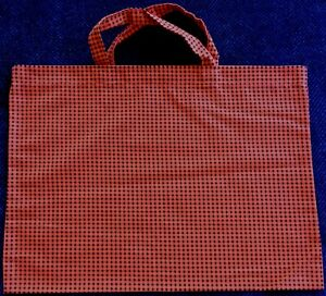 New Handmade Reusable Fabric Cloth SMALL TOTE BAG Gift Book Lunch ORANGE CHECKED