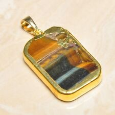"Handmade Natural Golden Tiger's Eye Gemstone Pendant 2"" #P17303"