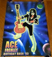 ~ RARE ~ KISS Ace Frehley Birthday Bash '02 Event Poster with Gibson Les Paul  ~