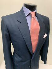Current Brioni For Battaglia Wool Cashmere Silk Blue Suit 42 L Working Cuffs