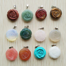 Beautiful Carved Mixed natural Stone rose charms Pendant 12pcs/lot wholesale