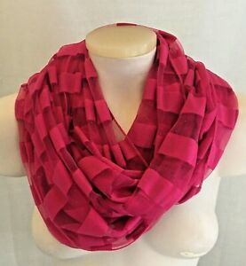 Sheer Infinity Scarf Hot Pink Sparking Glitter Striped Polyester One Size