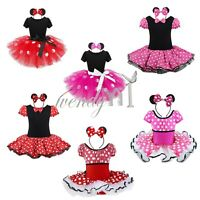 Halloween Kids Girls MINNIE MOUSE Costume Tutu Fancy Dress Cosplay Outfit + Ears