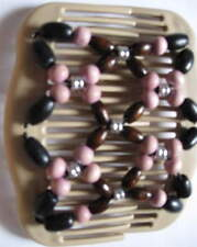 """Butterfly Style Dusty pink brown Magic Double Comb hair set  4"""" BEIGE wood EZ"""