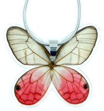 Real Handmade Butterfly Wing Necklace - Pink Butterfly Wing Jewelry - Laminated