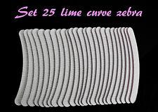 SET 25 LIME CURVE 120/180 ZEBRATE ZEBRA RICOSTRUZIONE UNGHIE KIT GEL UV