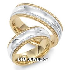 18K WHITE & YELLOW GOLD MATCHING WEDDING BANDS HIS & HERS TWO TONE WEDDING RINGS