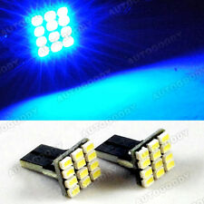 2 Ultra Blue LED Bulbs 12SMD T10 Wedge Side Marker Step Door Light License Plate