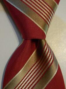 GIORGIO ARMANI Men's 100% Silk Necktie ITALY Designer STRIPED Pink/Tan/Ivory EUC