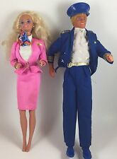 Vintage Flight Time Barbie & Ken Dolls, Loose, 1968 Ken Molded Hair, Plane Shirt