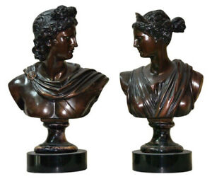 Classical Style BUSTS, APOLLO & DIANA-the Greek God and Goddess Intricate Detail