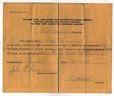 1925 NEW YORK NEW HAVEN HARTFORD RAILWAY Boston Division EXAM CERTIFICATE Train