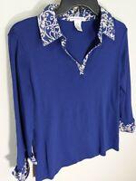 Rebecca Malone Navy Blue Knit Blouse w/ Paisley Collar & Cuffs 3/4 Sleeve Size M