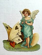 1910s Valentine's Day Card Angel with Butterfly on Leash To My Valentine