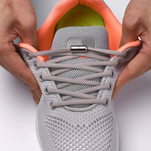 No Tie Shoelaces Elastic Shoe Laces Capsule Easy Lock Adult Kids Trainers Shoes