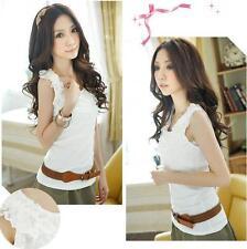Women's Lace Neckline Vest Singlet Tank Top Shirt Au Size 6-8 Sleeveless Cotton